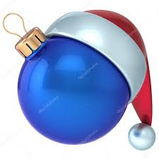 blue santa hat christmas happy new year bauble decoration blue ornament