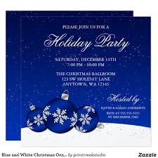 Christmas Ornament Party Invitations - blue and white christmas ornaments holiday party card christmas
