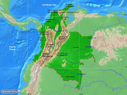 Physical Map Of Central America by Colombia Physical Map A Learning Family