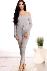 casual jumpsuit grey shoulder drawstring sleeve casual jumpsuit