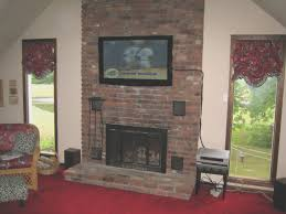 fireplace top hang tv above brick fireplace decor idea stunning