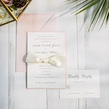 Wedding Invitations With Pictures Romantic Pink Layered Wedding Invitations With Ivory Ribbon