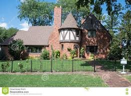 English Tudor Home Red Brick English Tudor House With Round Turret Stock Photo