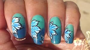 nail art tutorial butterfly flower nail art one stroke technique