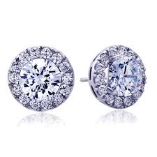 14k white gold earrings accent 14k white gold cubic zirconia halo stud earrings