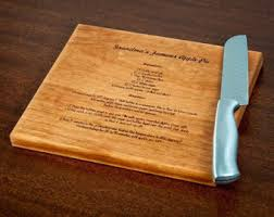 cutting board with recipe engraved grandmothers handwritten recipe cutting board family recipe