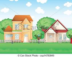 two houses eps vector of two big houses illustration of the two big houses