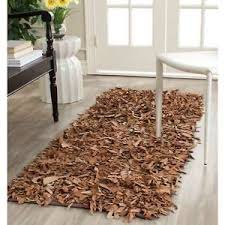 Safavieh Leather Shag Rug Safavieh Handmade Metro Modern Brown Medley Leather Decorative