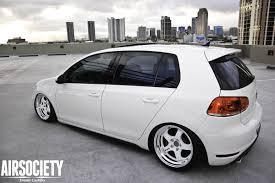 slammed volkswagen gti mk6 vw gti bagged air suspension ride airrex work sp1 white stance