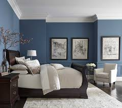 pretty blue color with white crown molding master bedroom