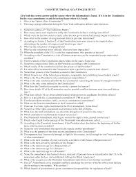 14 best images of constitution scavenger hunt worksheet answers