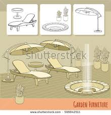 Summer Lounge Chairs Vector Illustration Hand Drawn Lounge Chairs Stock Vector