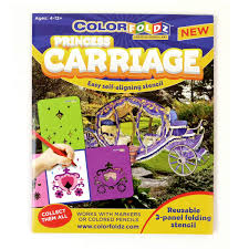 princess carriage colorfoldz aligning stencil coloring book