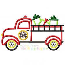 christmas applique christmas firetruck with presents applique design