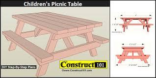 kids picnic table plans children s picnic table plans pdf download construct101