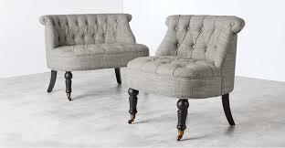 linen chair accent chair in mix grey linen bouji made
