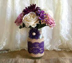 Mason Jar Vases Wedding Lavender Rustic Burlap And Lace Covered 3 Mason Jar Weddings