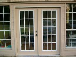 Exterior Single French Door by Decor French Patio Doors Lowes In Brown Frame For Home Decoration