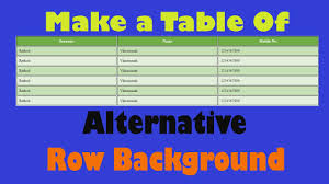 Html Table Font Color Html U0026 Css Advance Table Styling Alternative Row Background