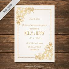 wedding invitations free wedding invitation decorated with golden flowers vector free