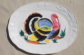 painted platter vintage thanksgiving turkey platter 70s 80s painted ceramic