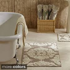 Taupe Bathroom Rugs Monte Carlo Cotton Taupe And White 2 Bath Rug Set Includes