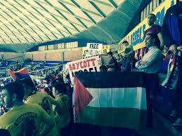 Palistinian Flag Fans Of Barcelona Basketball Team Show Support For Palestine