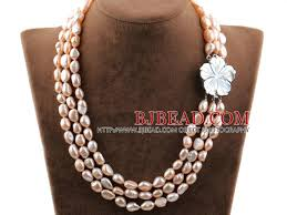 white shell pearl necklace images Three strands natural pink color baroque pearl necklace with white jpg