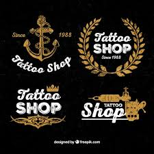 vintage tattoo shop logos vector free download