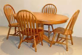 Solid Oak Dining Table Set Oval Solid Oak Table Set In Golden Finish