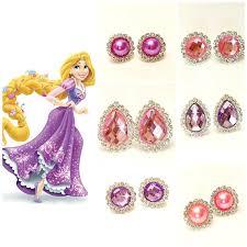 clip on earrings for kids rapunzel princess earrings clip on earrings purple pink