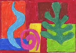 overlapping matisse shapes art projects for kids