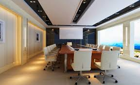 brown table and white chairs of conference room design rendering