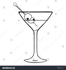 martini silhouette vector lineart martini glass olives stock vector 280811111