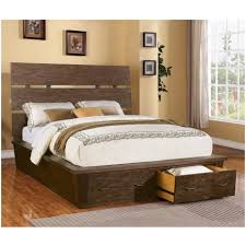 Wood King Platform Bed With Drawers Bedroom Golden Handles King Platform Beds With Storage Platform