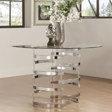 Glass Top Dining Room Table And Chairs by Nova Round Glass Top Vortex Iron Base Dining Table By Inspire Q