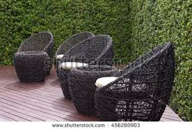 rattan garden table chairs water resistant stock photo 456280882
