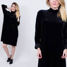 vintage 90s black velvet trapeze dress from von vixen vintage