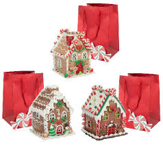 set of 3 mini lit gingerbread houses with gift bags by valerie