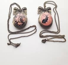 long chain bow necklace images Bronze pink black bunny rabbit owl locket long chain necklace jpg