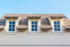 upwards at 3 home attic windows with roof stock image image