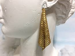 disco earrings matte gold 1970s metal mesh earrings 70s disco earrings 70s