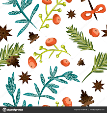 seamless christmas background tile botanical pattern vector