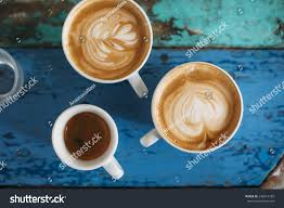 two fresh tasty cappuccino coffee cups stock photo 240013189