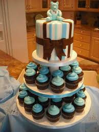 simple baby shower cakes with cupcakes for boys baby shower cake