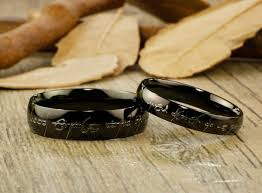 lord of the rings wedding band handmade black dome shape custom your words in elvish lord of the