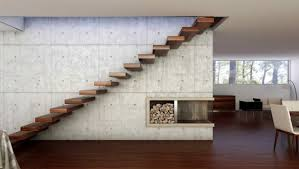 floating stair tread brackets contemporary home interior present