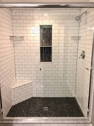 Master Shower Subway Tile With Grey Grout Vertical Backsplash - Vertical subway tile backsplash