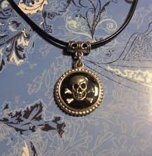 charm leather necklace images Skull bones charm leather cord necklace free ship ebay jpg