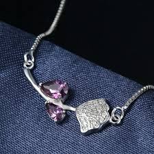sterling silver necklace designs images 100 925 sterling silver luxury purple austrian crystal beautiful jpg